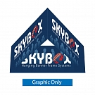"Skybox Triangle 5' x 32"" Hanging Banner - Printed Inside & Outside Graphic"